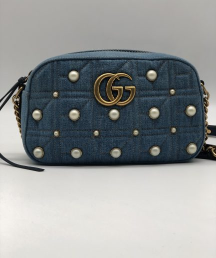 Gucci GG Marmont Denim Pearl small